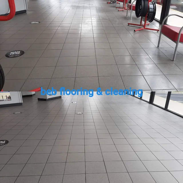 Before and after wax buildup removal from tile by beb flooring & cleaning