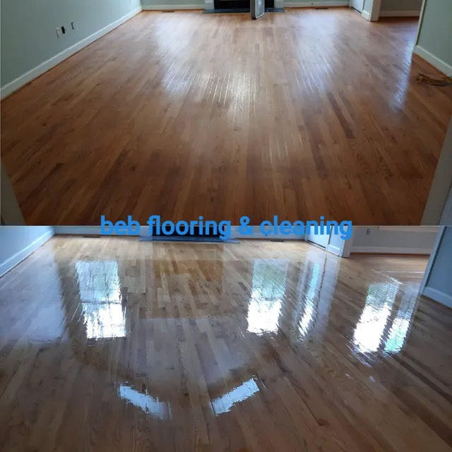Before After wood floor buff & recoat in raleigh nc