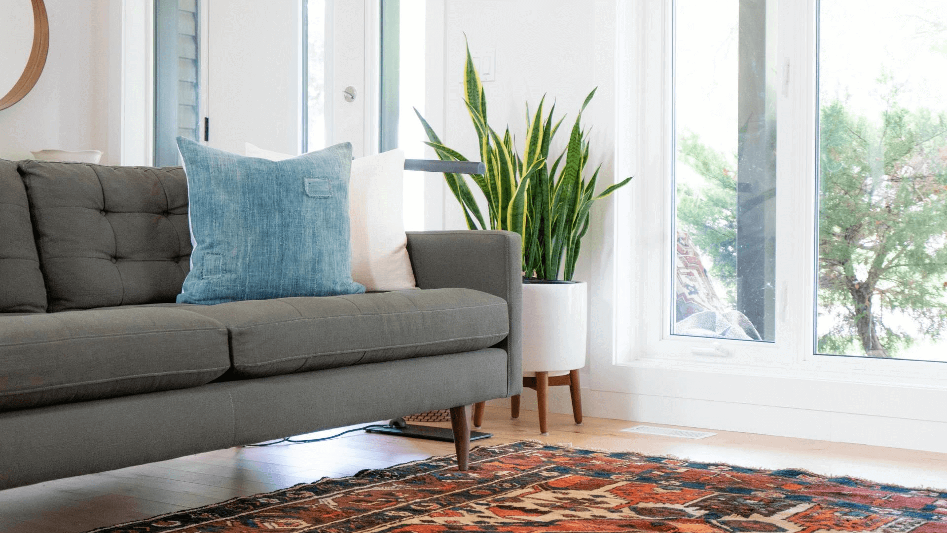 The area rug compliment these wood floors