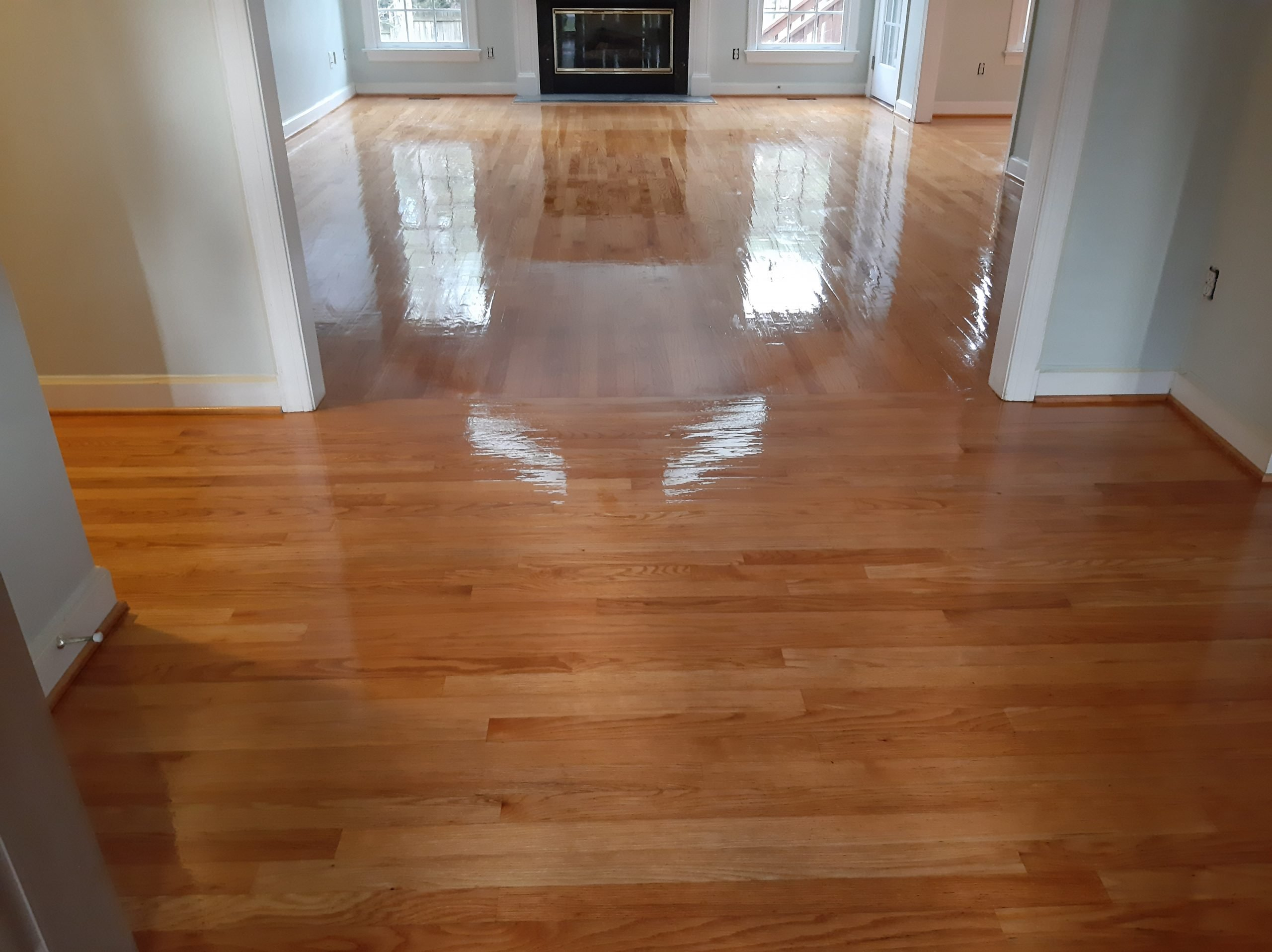 cleaned and polished wood floors